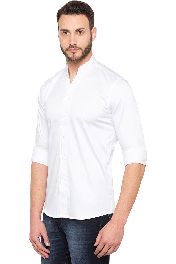 Solid White Party Shirt-4