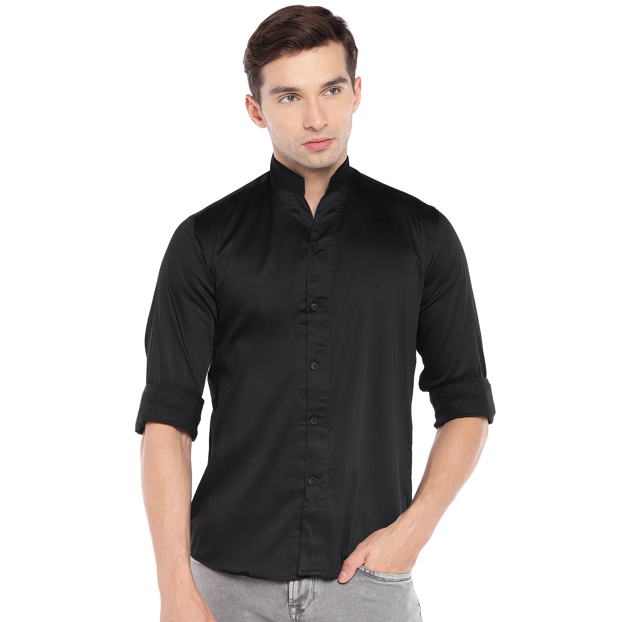 Black Regular Fit Solid Casual Shirt-1