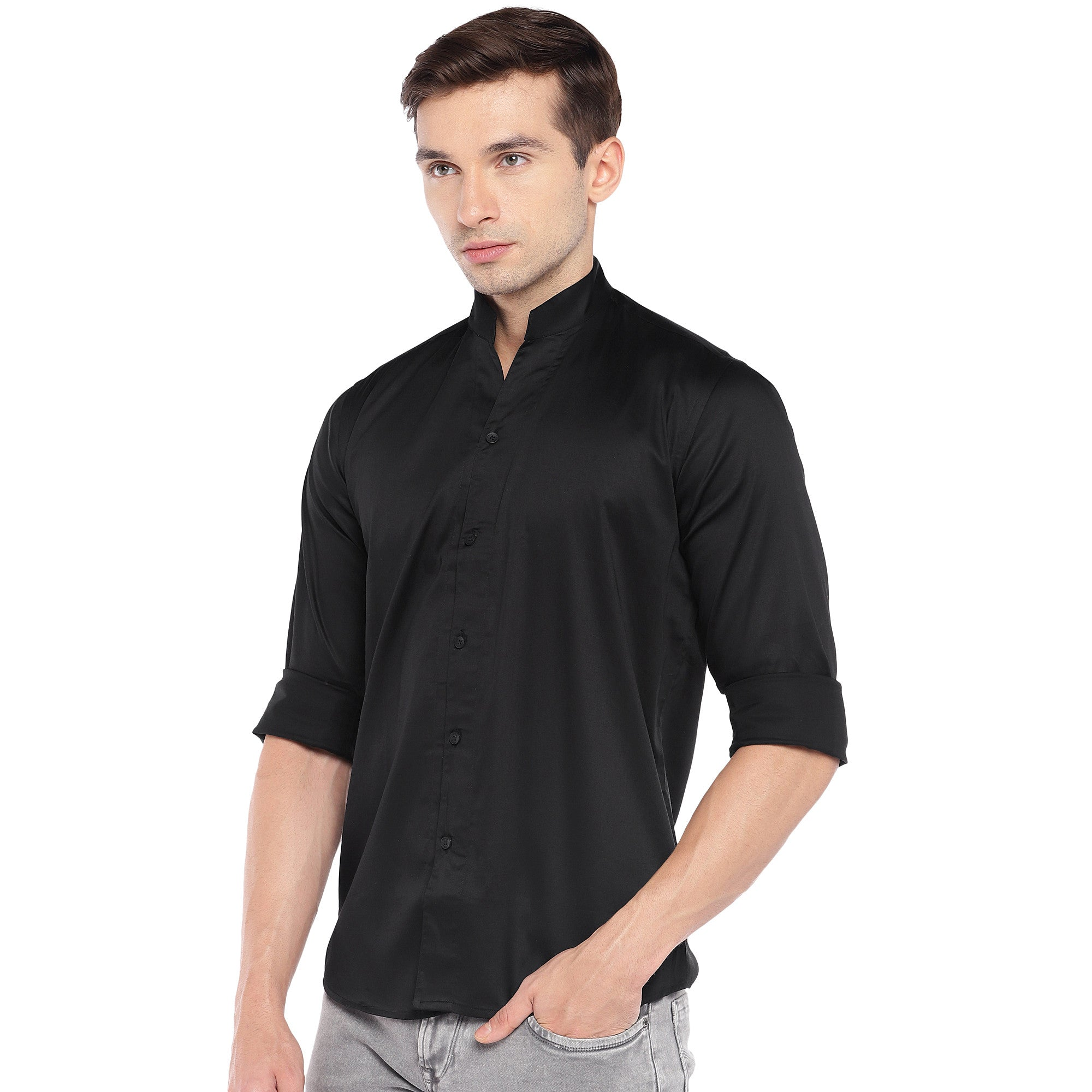Black Regular Fit Solid Casual Shirt-2