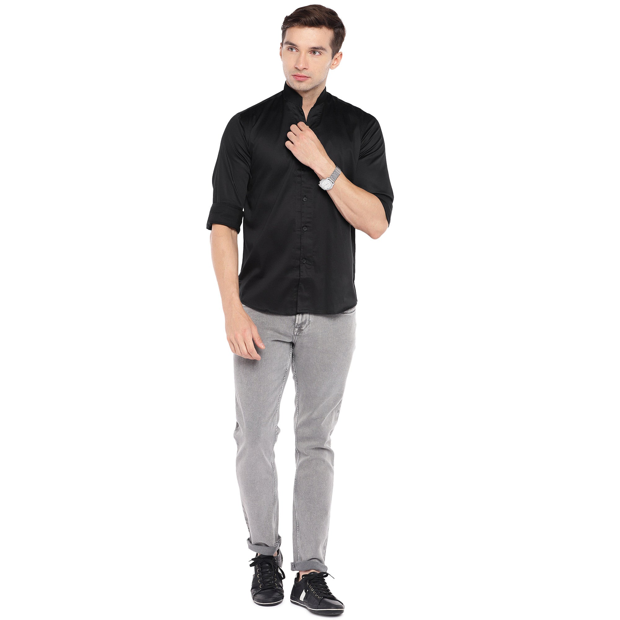 Black Regular Fit Solid Casual Shirt-4
