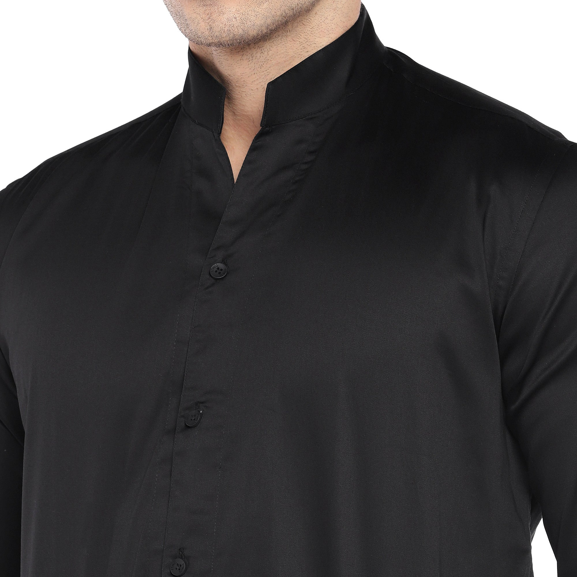 Black Regular Fit Solid Casual Shirt-5