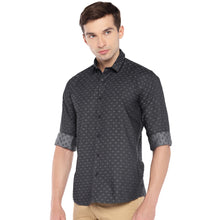 Load image into Gallery viewer, Black Regular Fit Self Design Casual Shirt-2