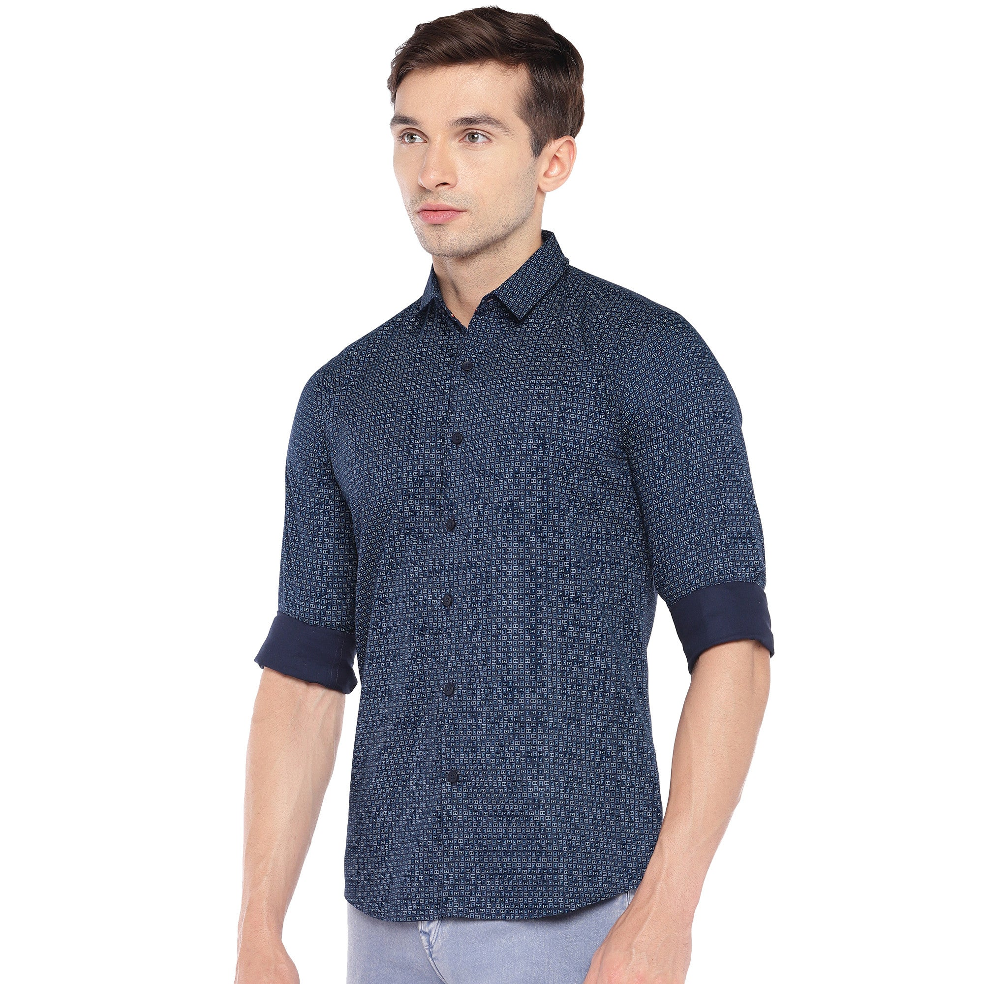 Blue Regular Fit Printed Casual Shirt-2