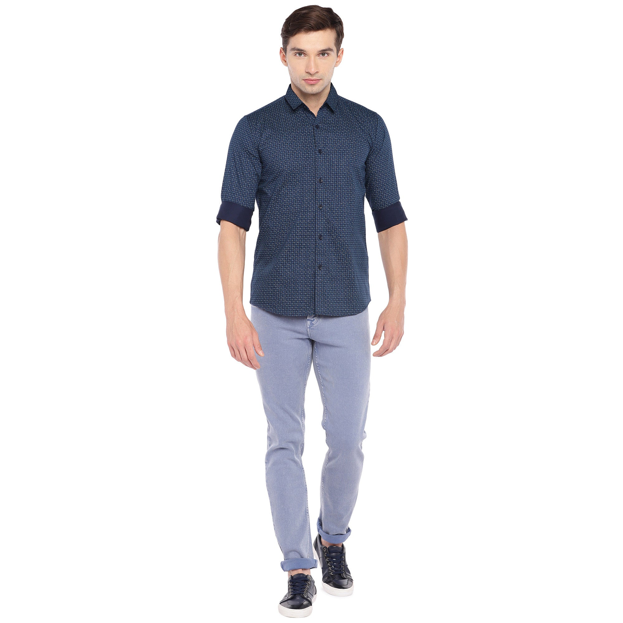 Blue Regular Fit Printed Casual Shirt-4