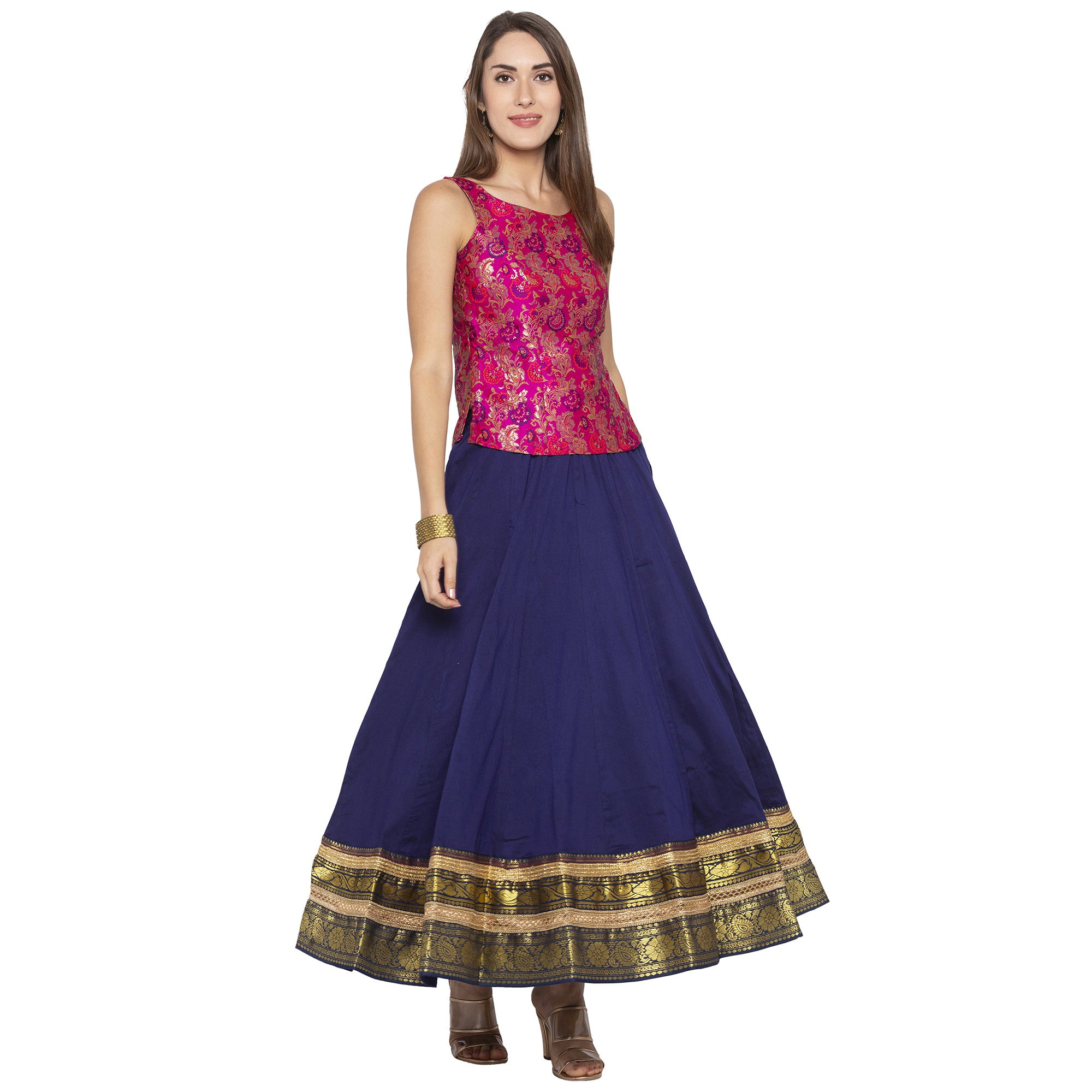 Indigo Solid Skirts-4