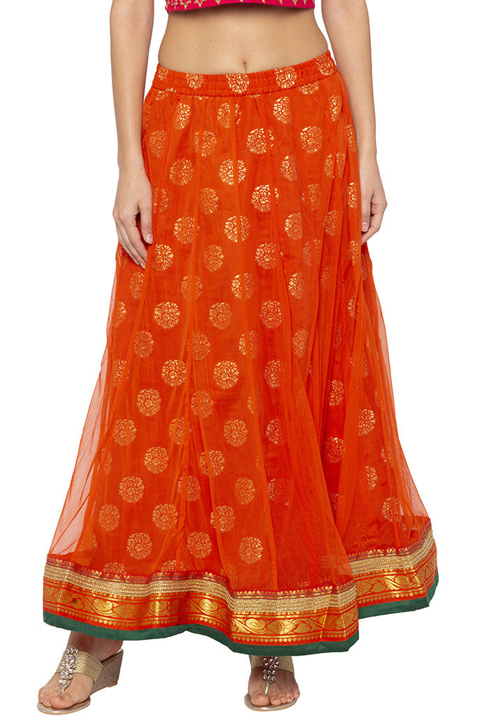 Layered Ethnic Flared Orange Skirt-1