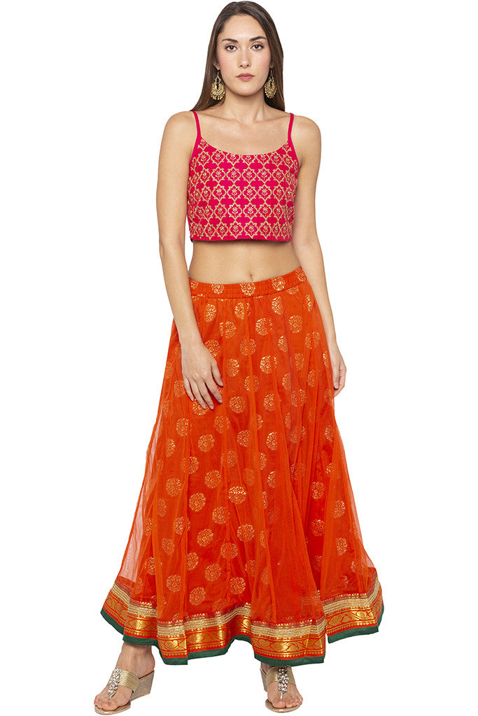 Layered Ethnic Flared Orange Skirt-2