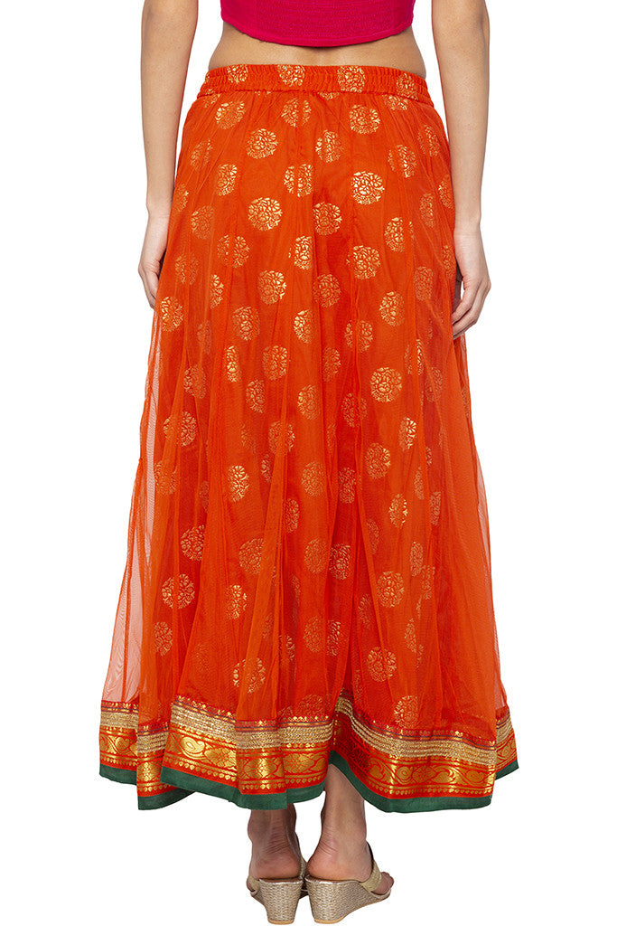 Layered Ethnic Flared Orange Skirt-3