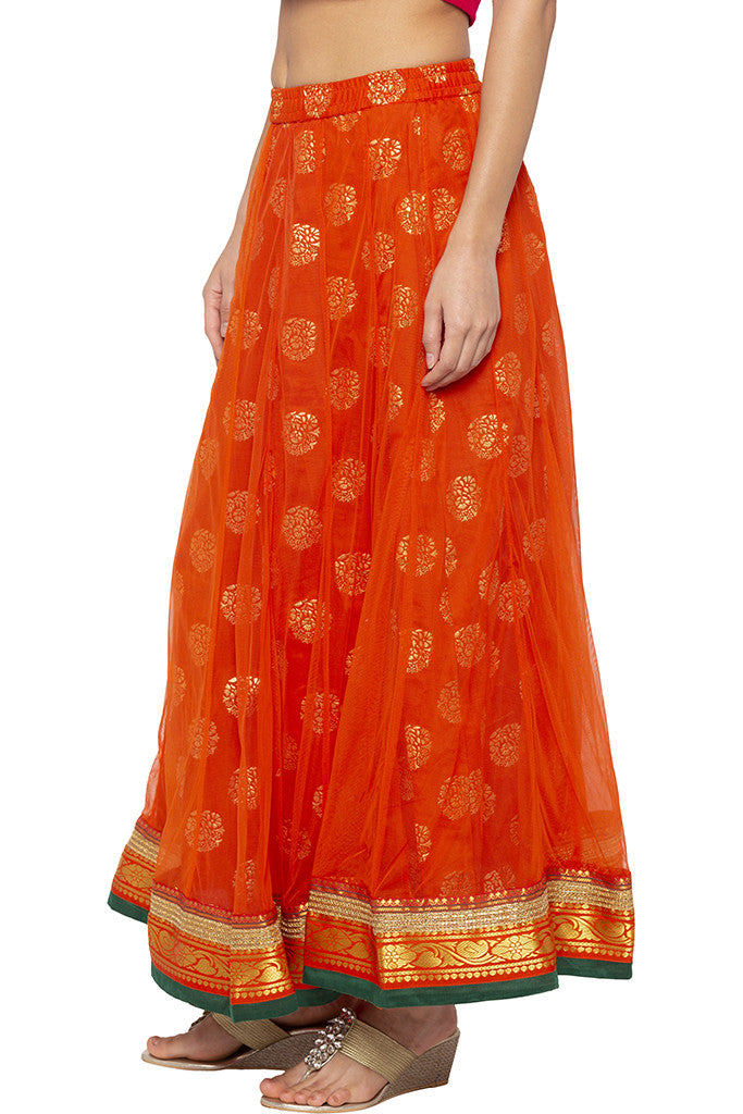 Layered Ethnic Flared Orange Skirt-4