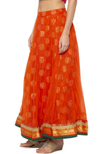 Load image into Gallery viewer, Layered Ethnic Flared Orange Skirt-4