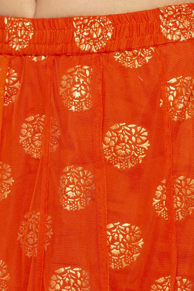 Layered Ethnic Flared Orange Skirt-5