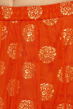 Load image into Gallery viewer, Layered Ethnic Flared Orange Skirt-5