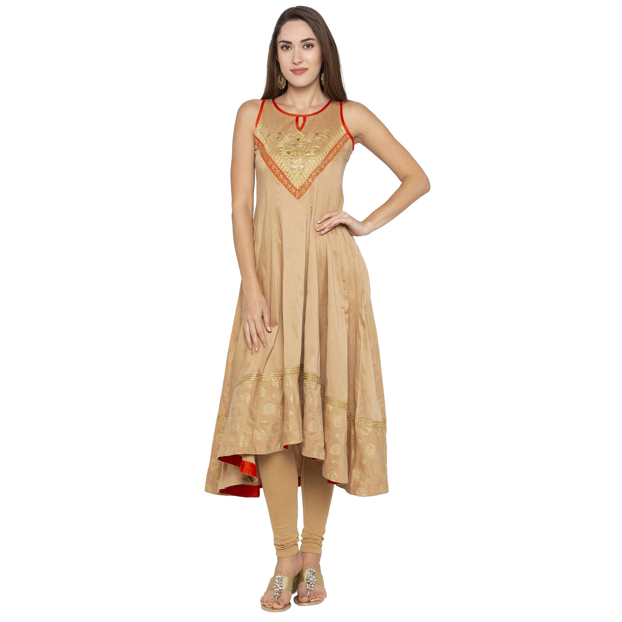 Ethnic Beige Color Anarkali Printed Regular Kurtas-1