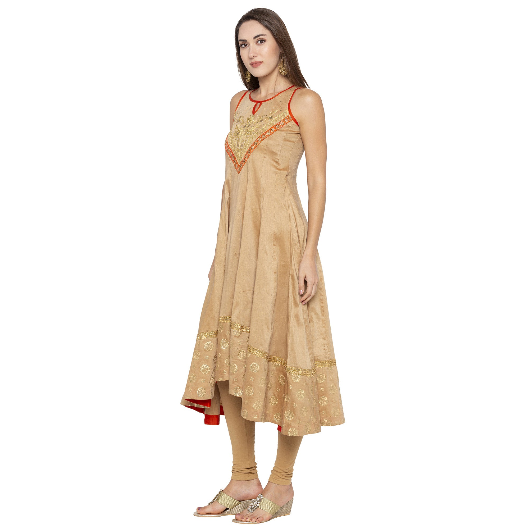 Ethnic Beige Color Anarkali Printed Regular Kurtas-2