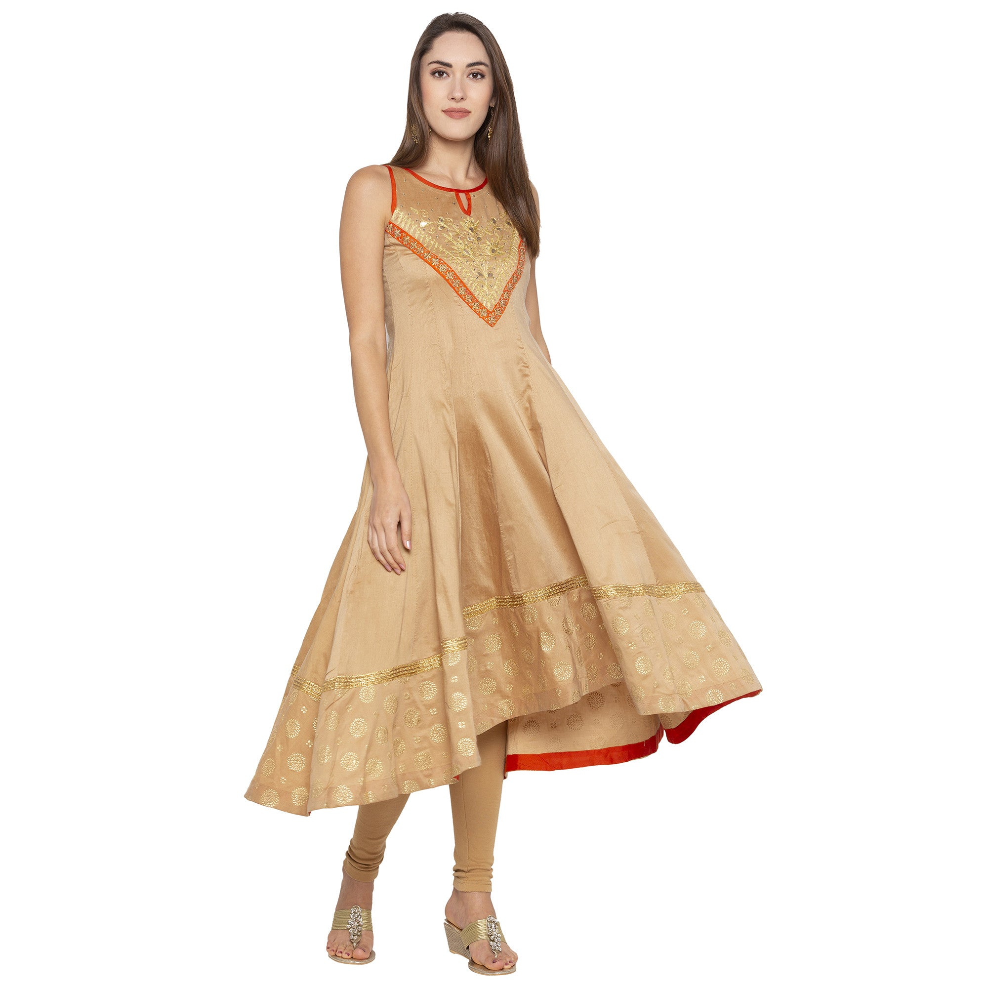 Ethnic Beige Color Anarkali Printed Regular Kurtas-4