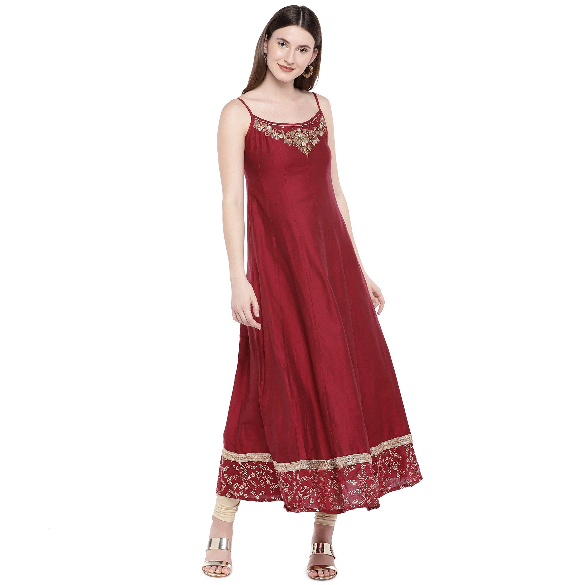 Maroon Embroidered Anarkali Kurta-1