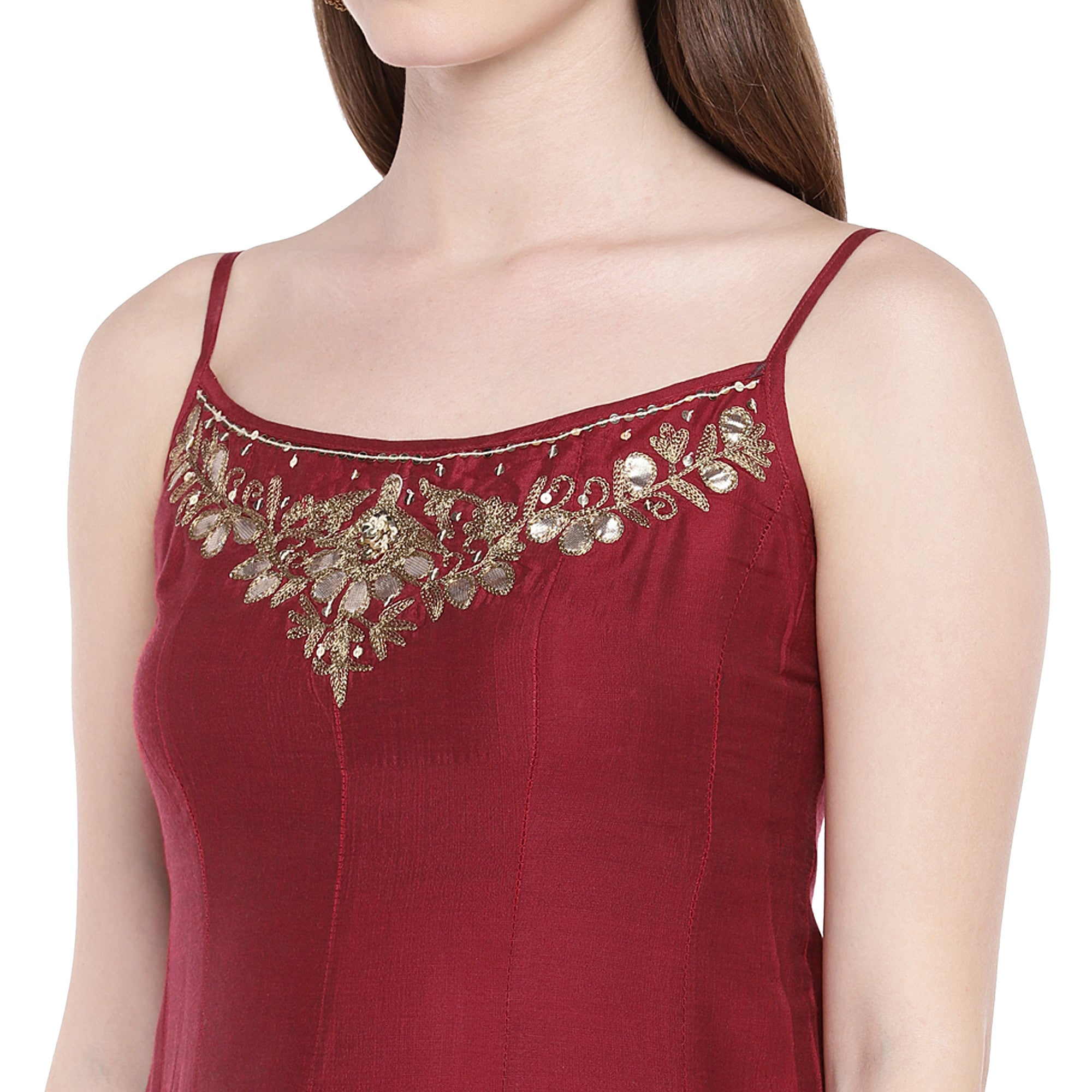 Maroon Embroidered Anarkali Kurta-5