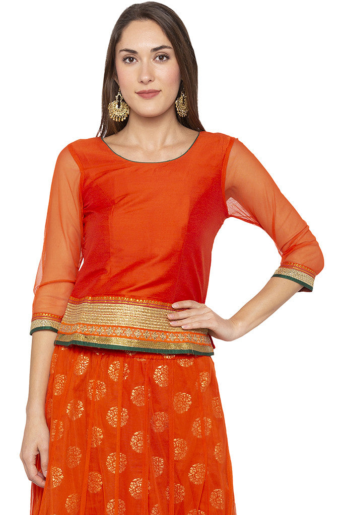 Zari Border Net Orange Top-1