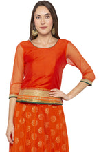 Load image into Gallery viewer, Zari Border Net Orange Top-1