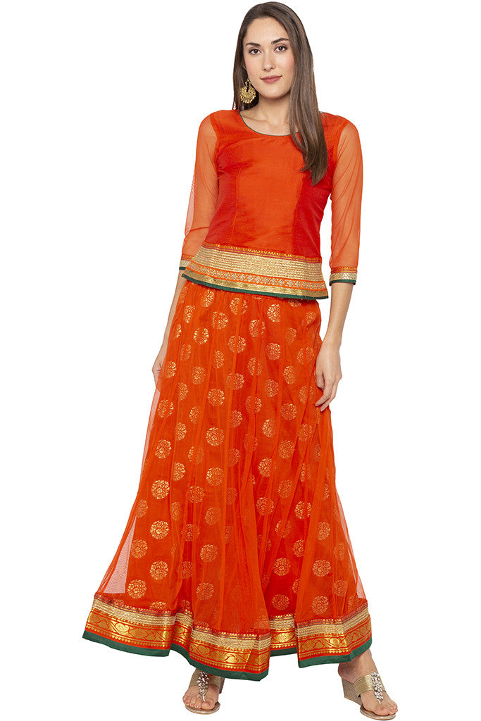 Zari Border Net Orange Top-2