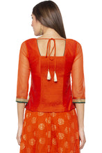 Load image into Gallery viewer, Zari Border Net Orange Top-3