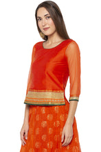 Load image into Gallery viewer, Zari Border Net Orange Top-4