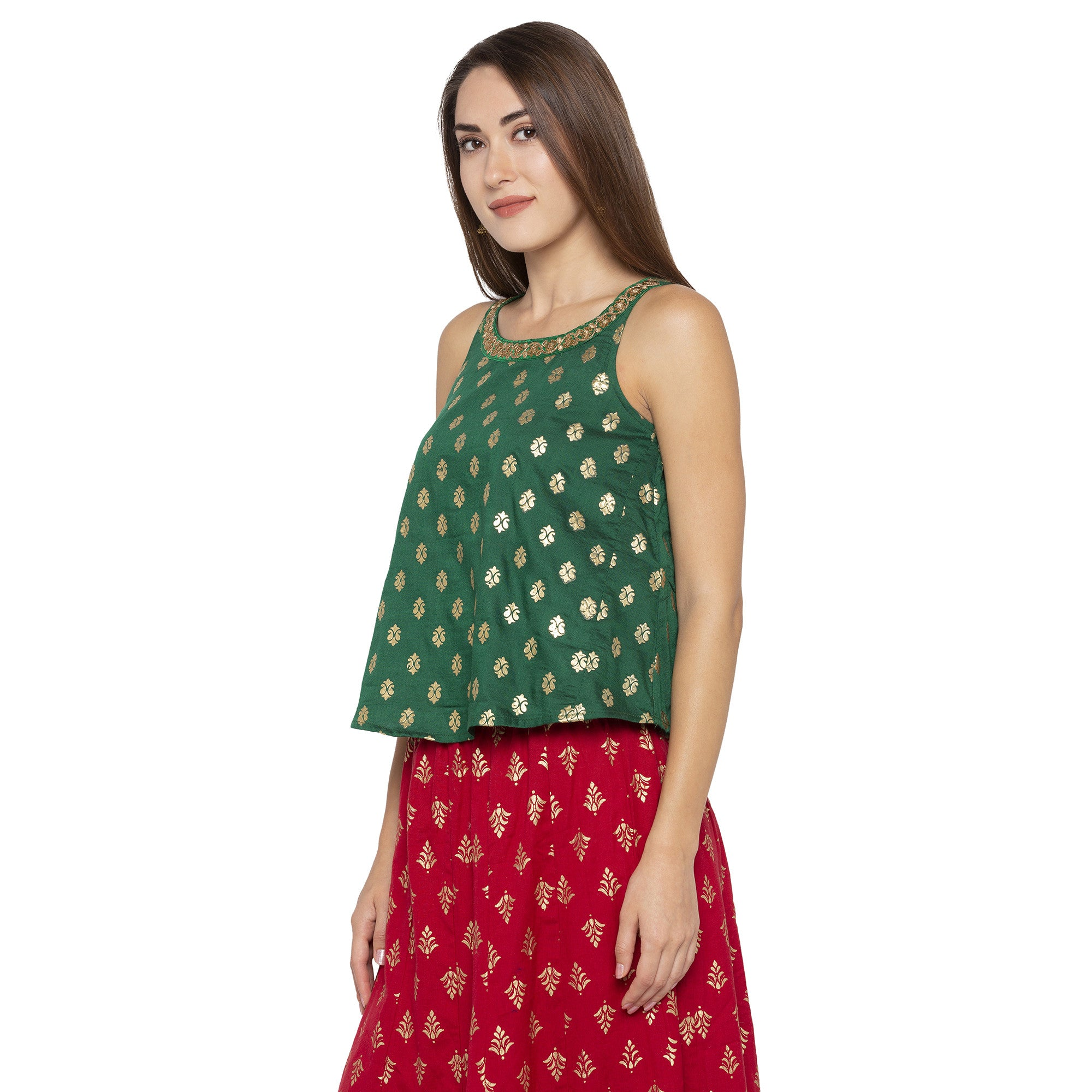 Ethnic Green Color Printed Loose Fit Tunics-2