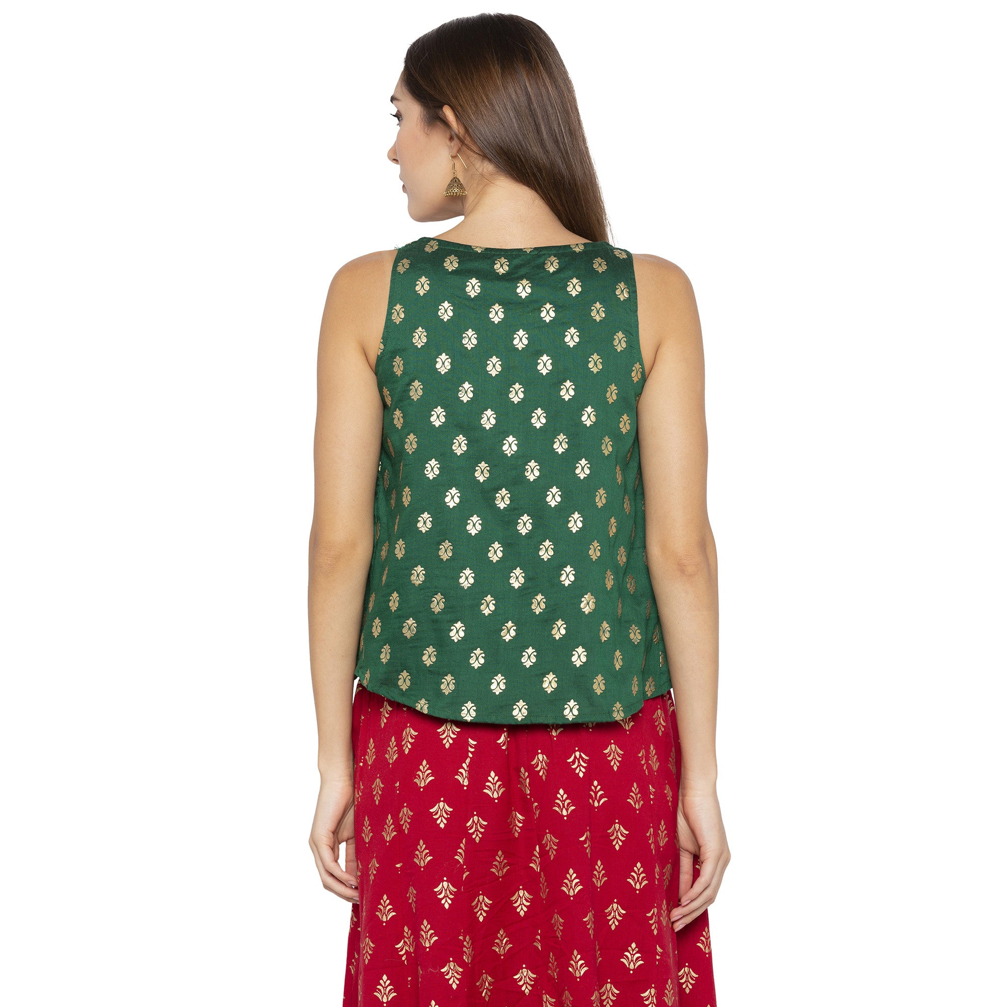 Ethnic Green Color Printed Loose Fit Tunics-3