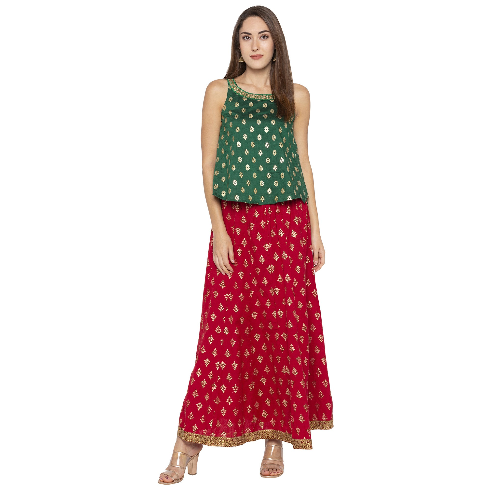 Ethnic Green Color Printed Loose Fit Tunics-4