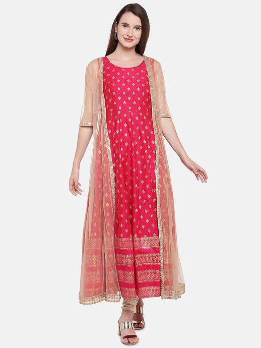 Red & Beige Printed A-Line Tunic-1