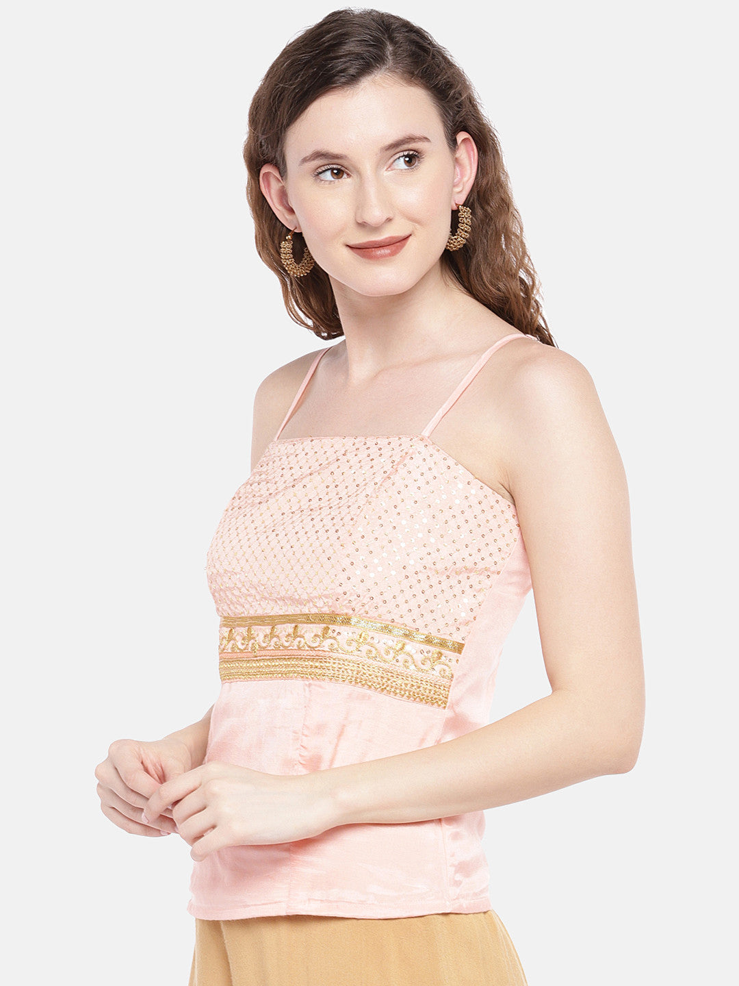 Peach-Coloured Embellished Top-2