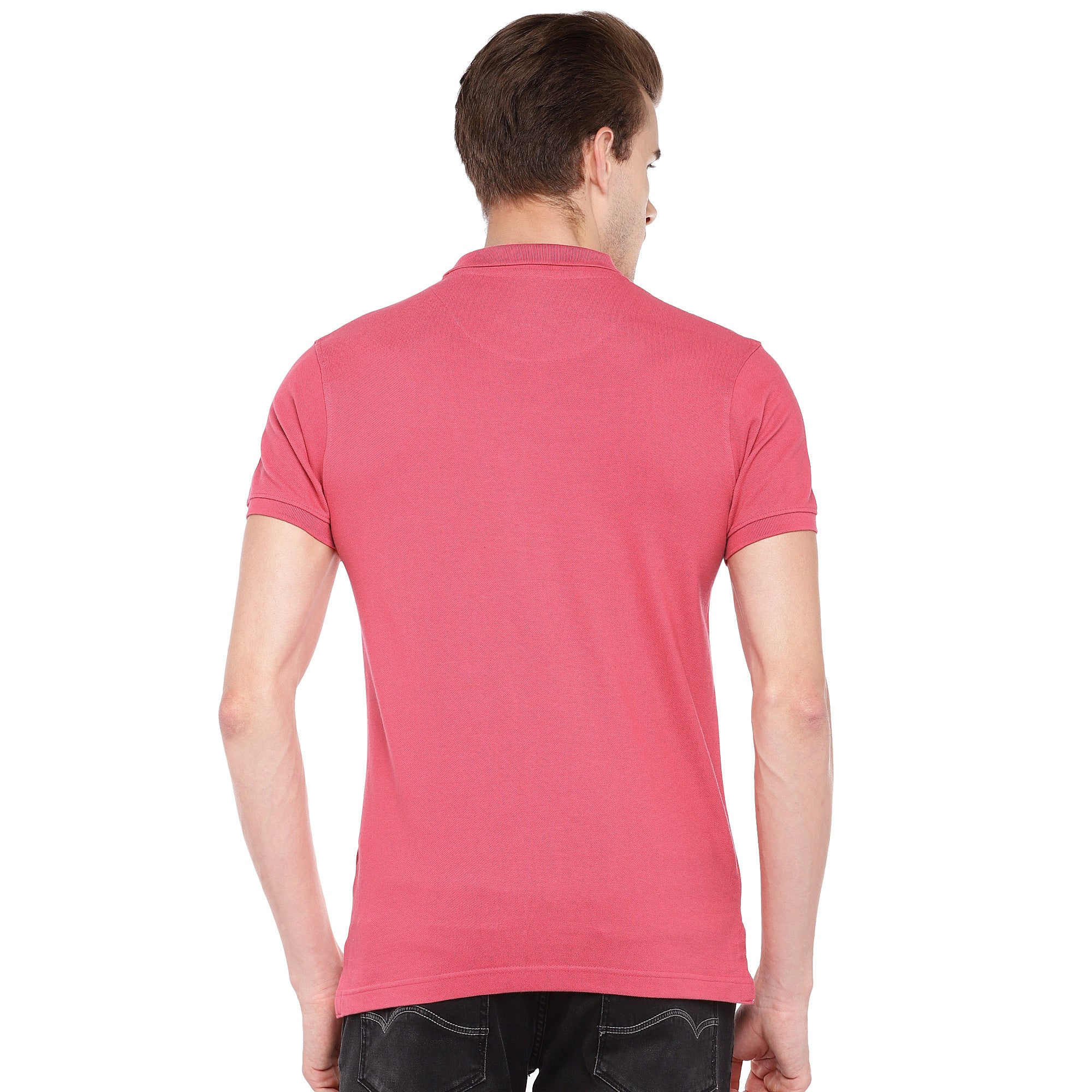 Pink Solid Polo Collar T-shirt-3