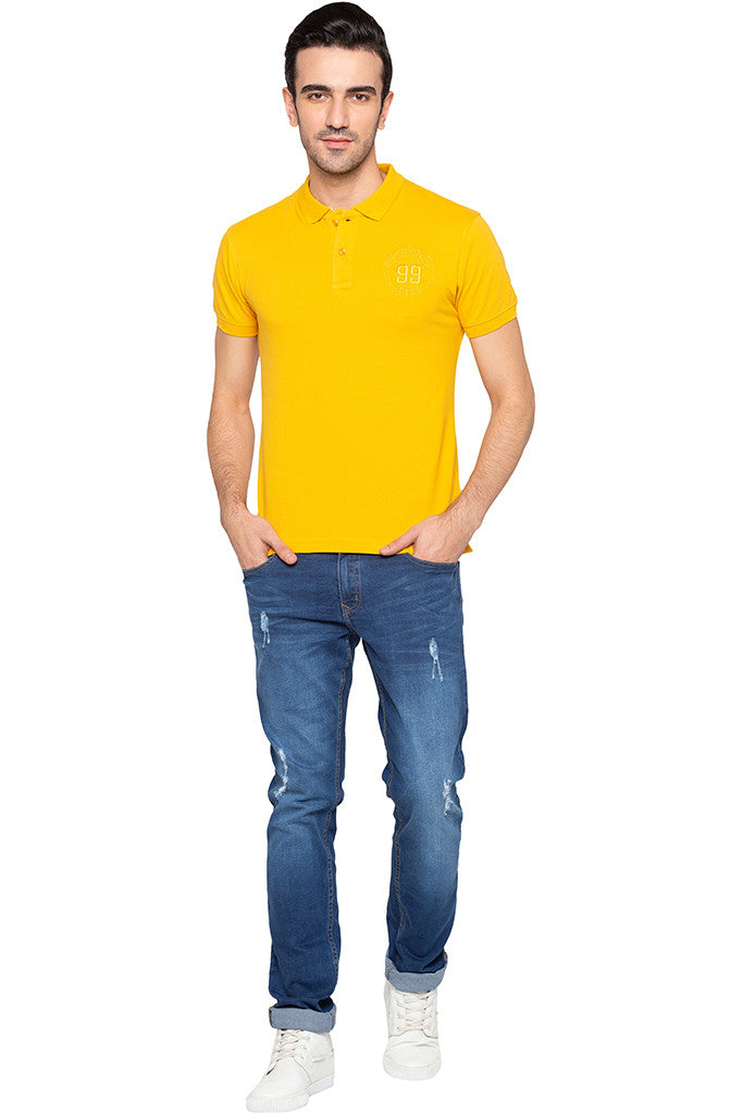 Polo Collar Solid T-shirt-2
