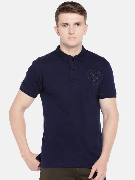 Navy Blue Solid Polo Collar T-shirt-1
