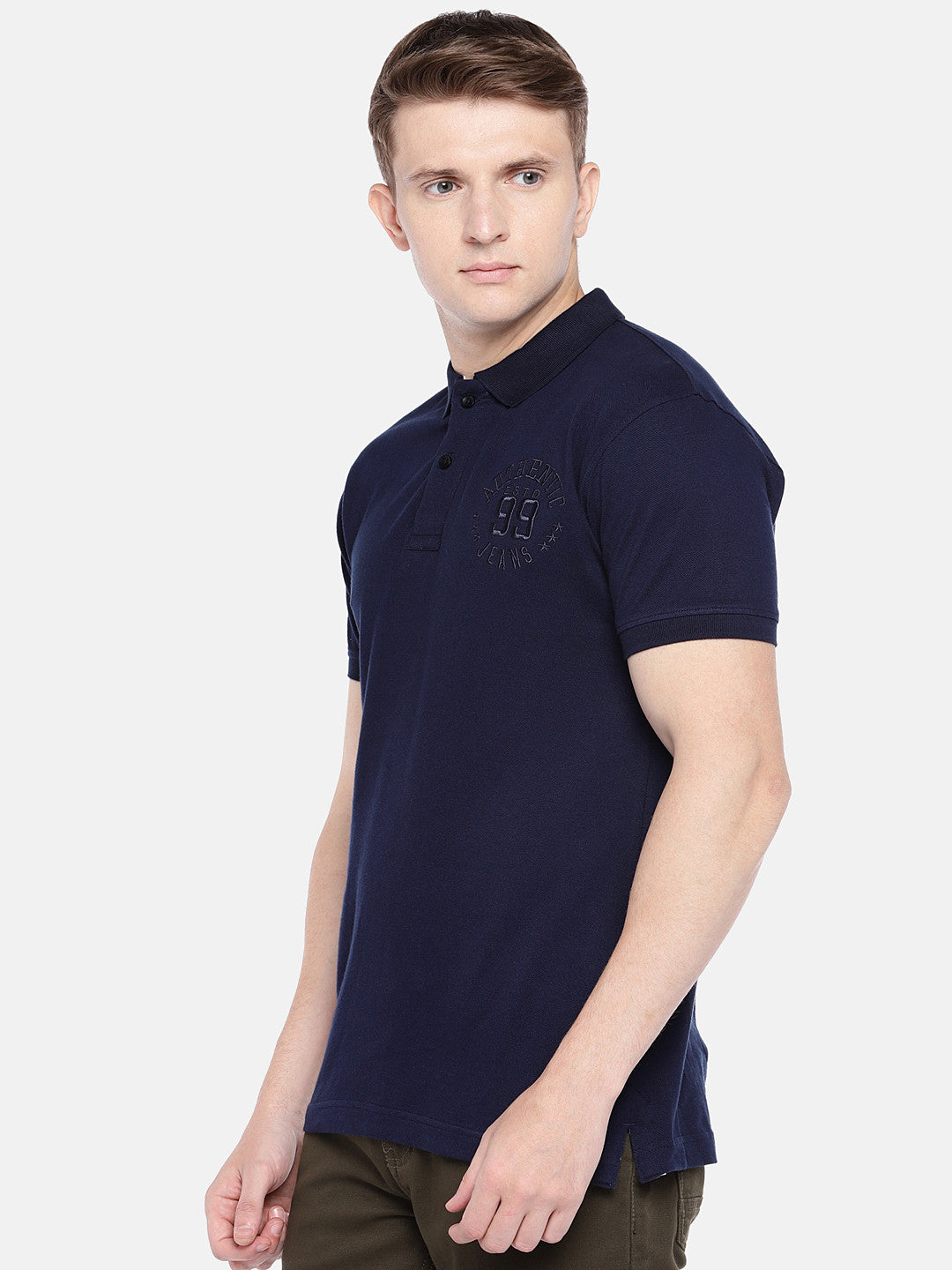Navy Blue Solid Polo Collar T-shirt-2
