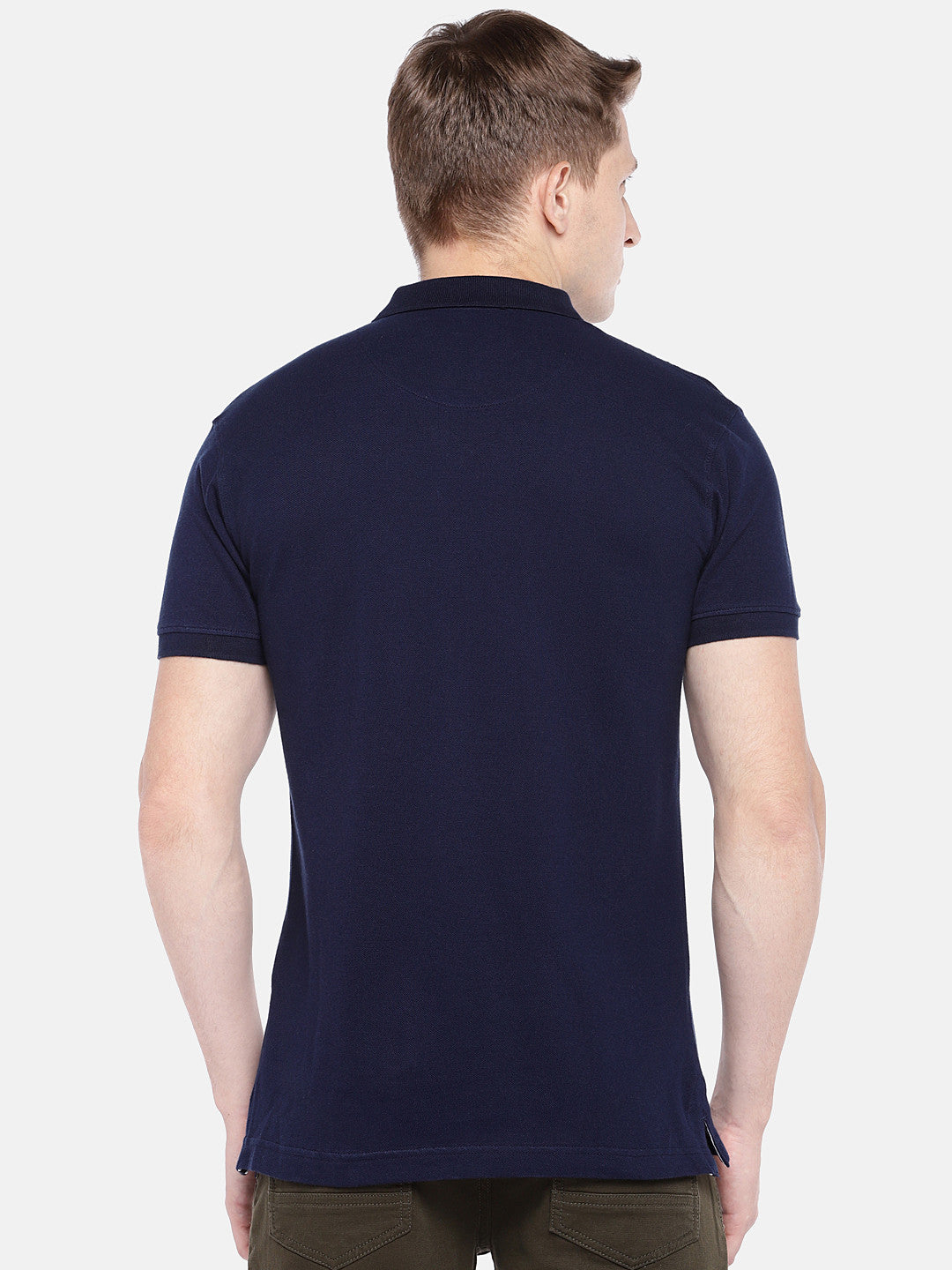 Navy Blue Solid Polo Collar T-shirt-3