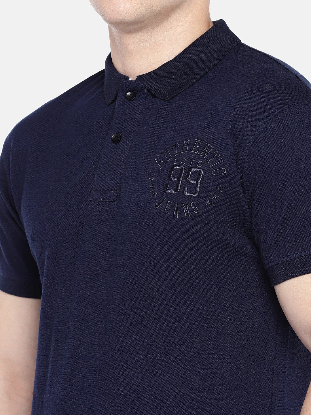 Navy Blue Solid Polo Collar T-shirt-5
