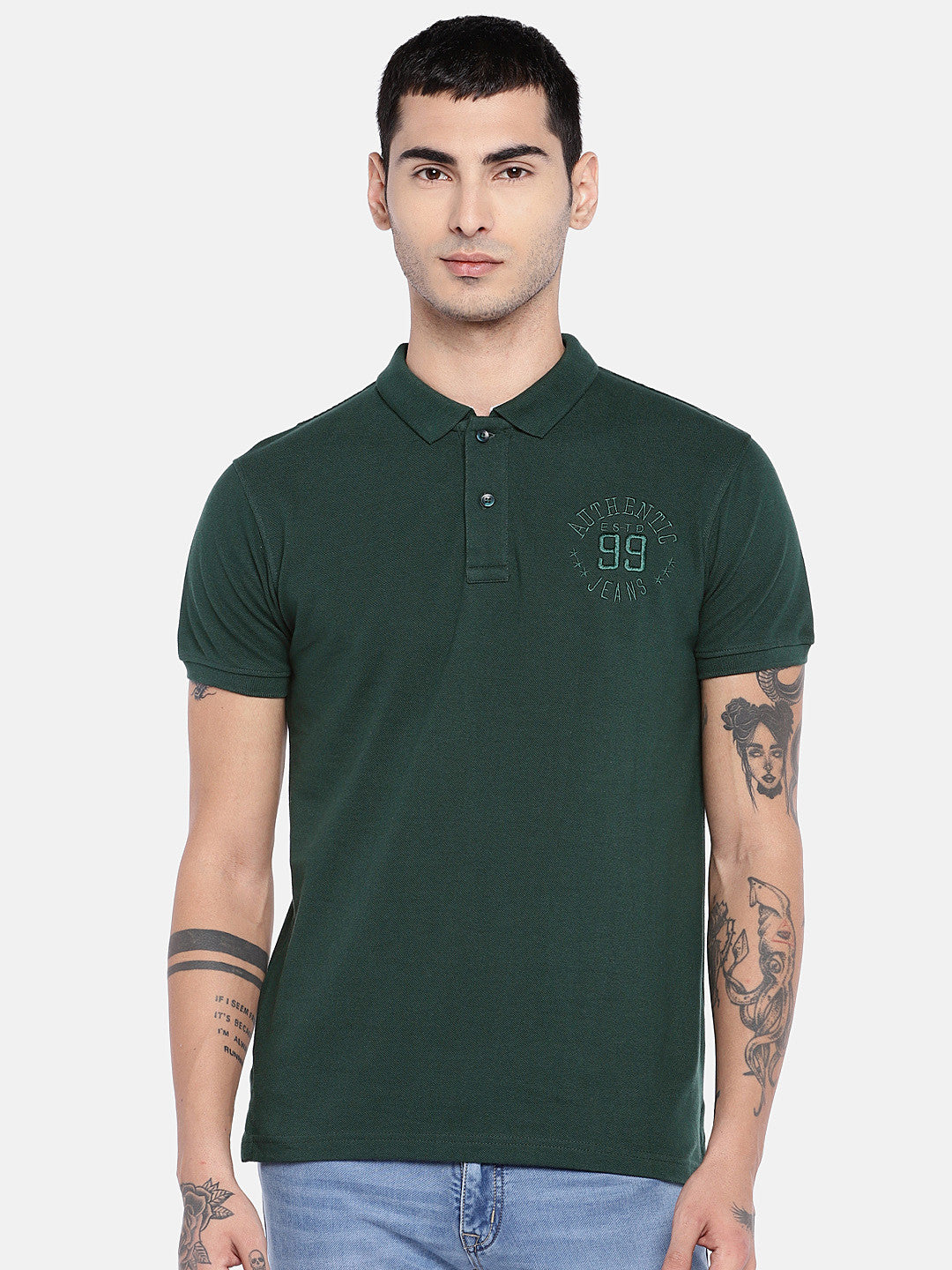 Green Solid Polo Collar T-shirt-1