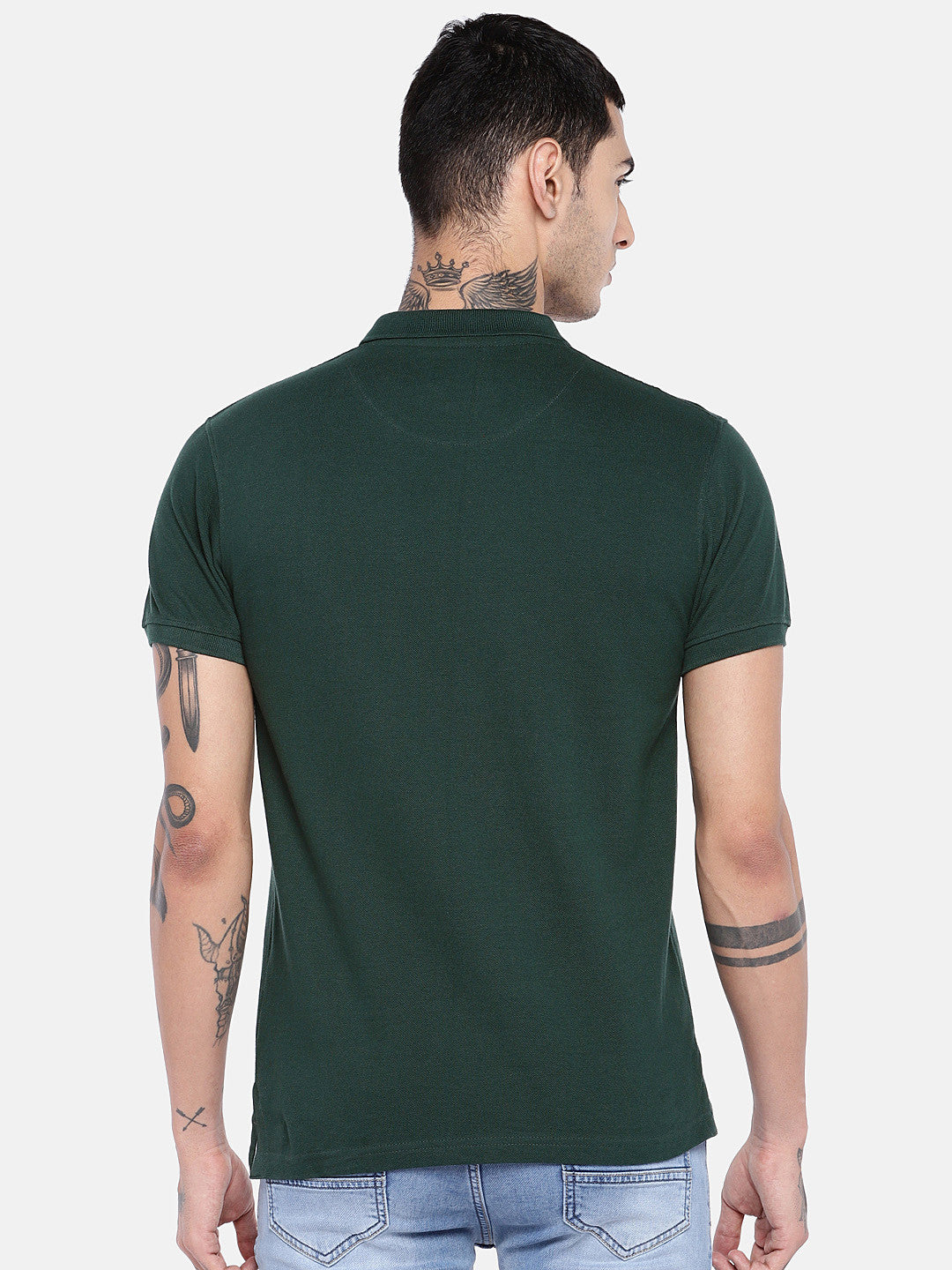 Green Solid Polo Collar T-shirt-3