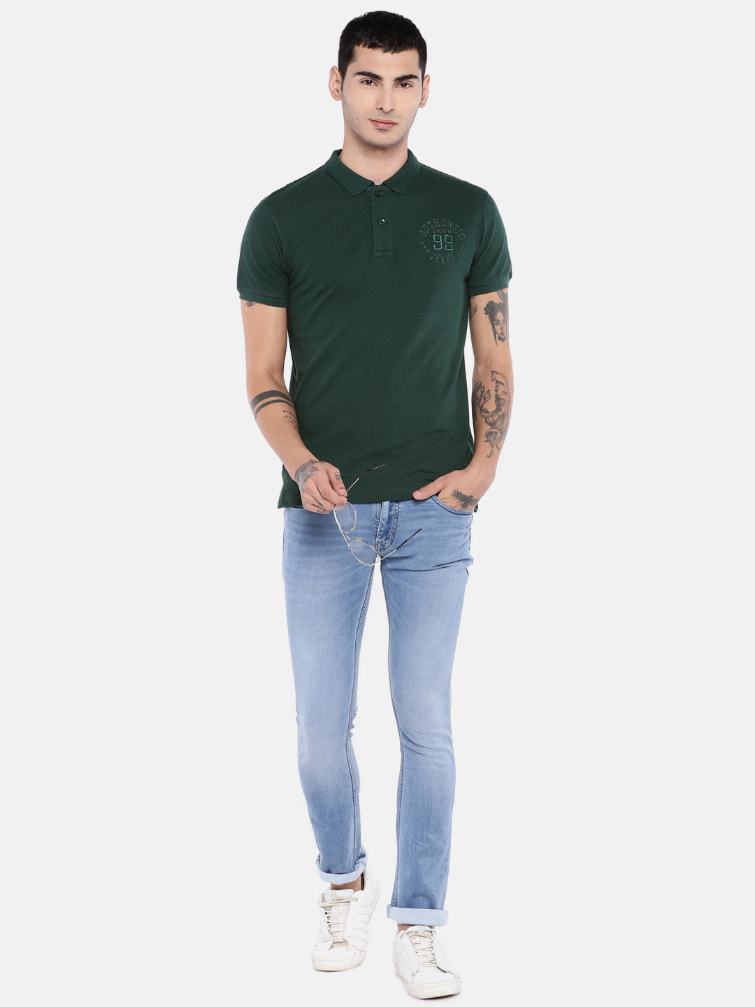 Green Solid Polo Collar T-shirt-4