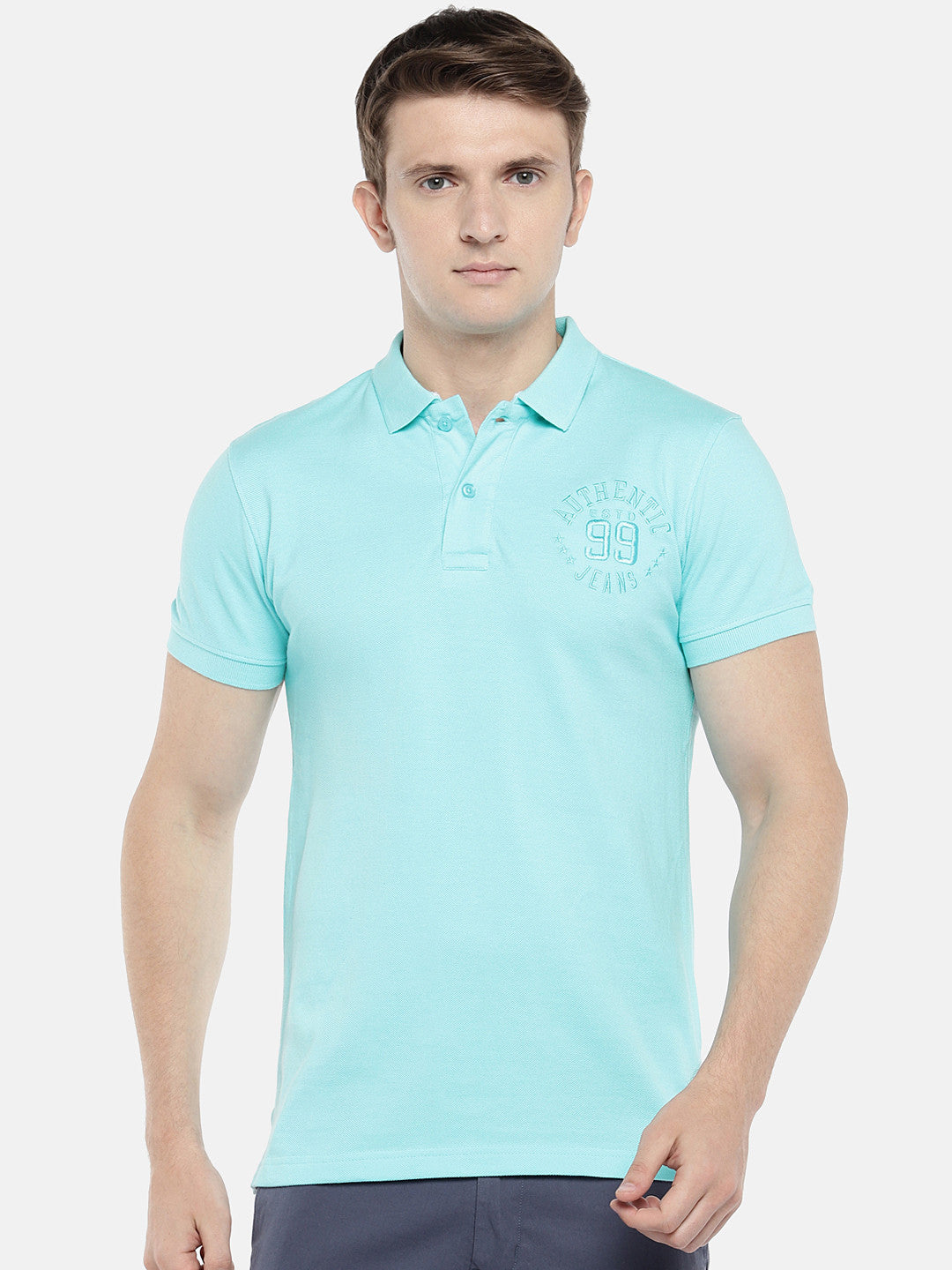 Blue Solid Polo Collar T-shirt-1
