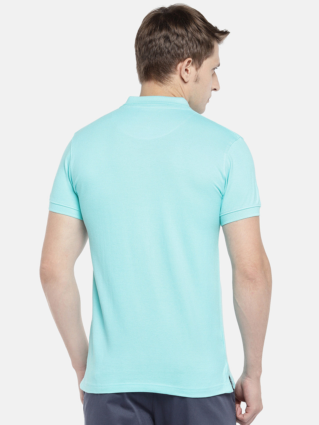 Blue Solid Polo Collar T-shirt-3