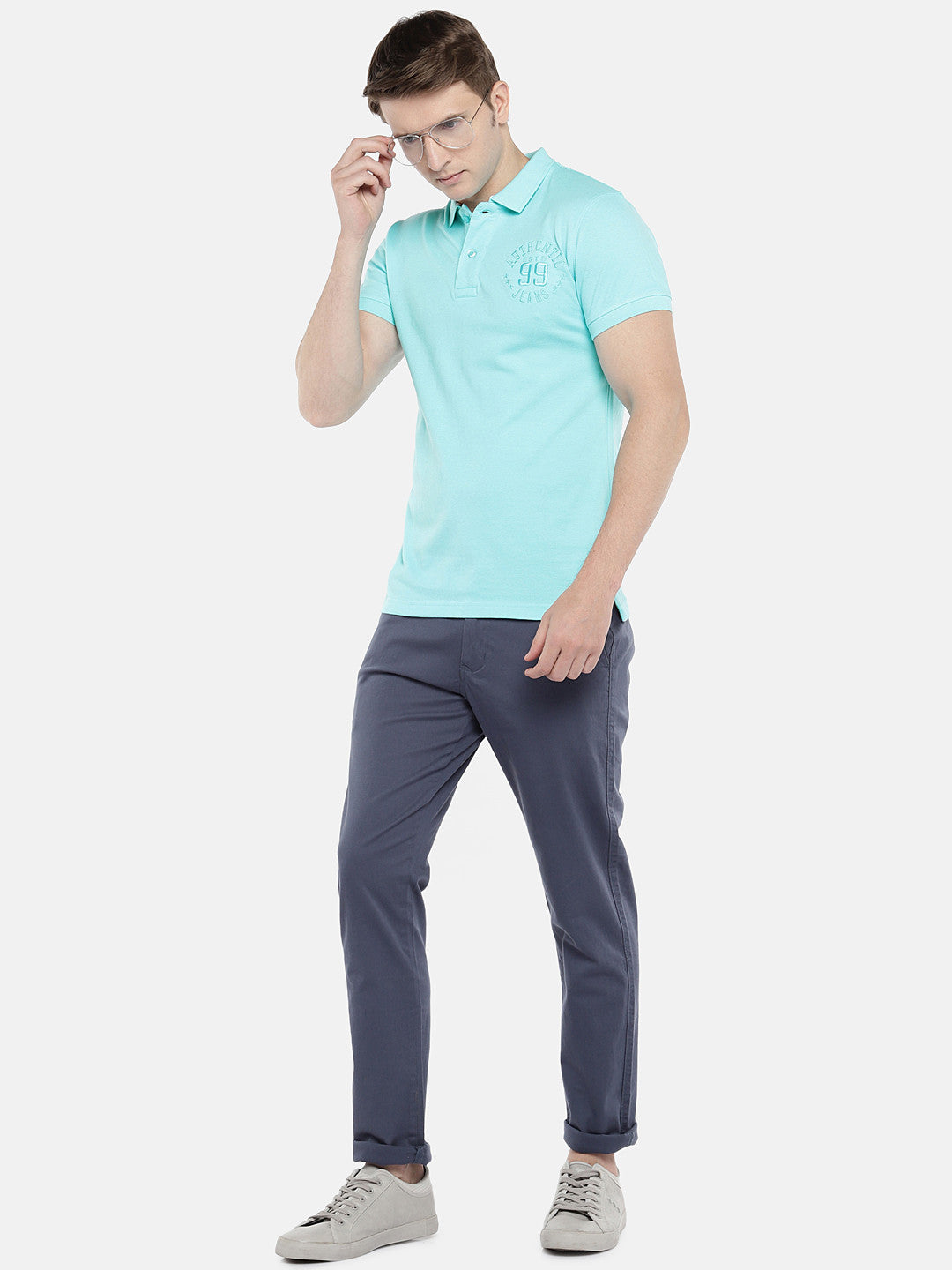 Blue Solid Polo Collar T-shirt-4
