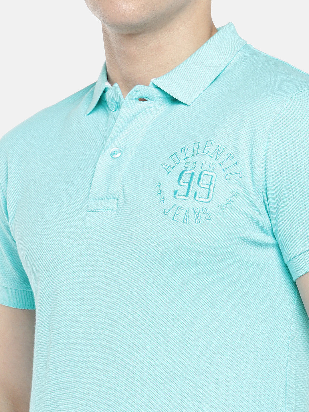 Blue Solid Polo Collar T-shirt-5