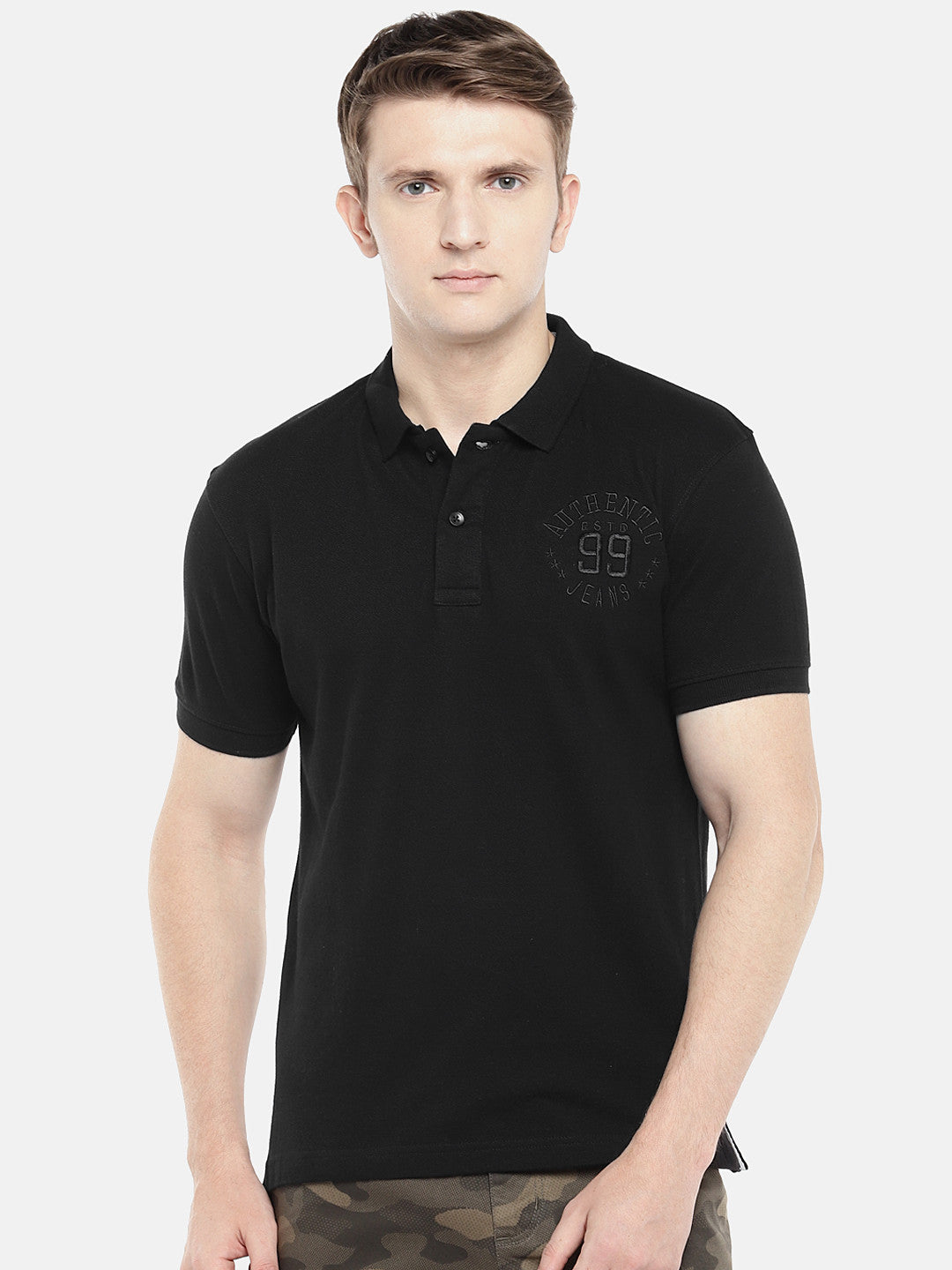 Black Solid Polo Collar T-shirt-1