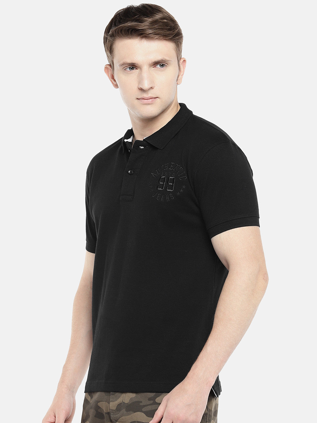 Black Solid Polo Collar T-shirt-2