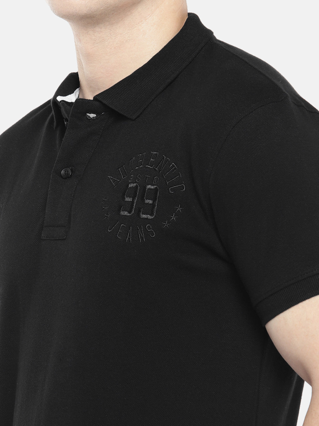 Black Solid Polo Collar T-shirt-5