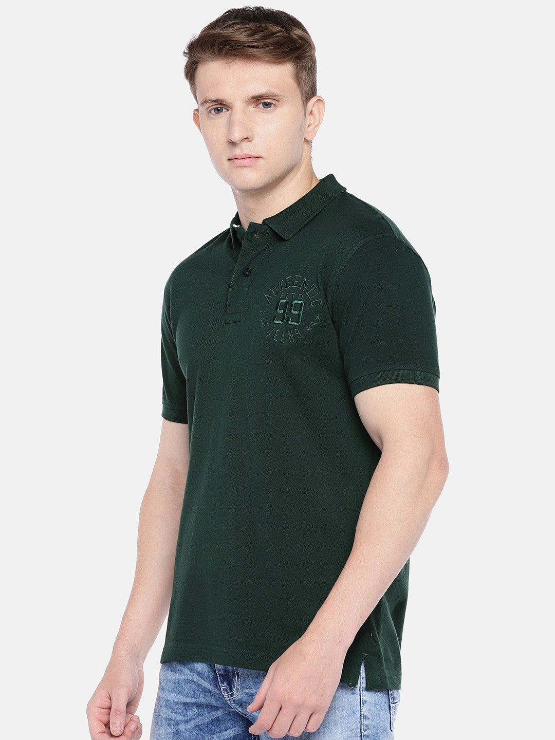 Green Solid Polo Collar T-shirt-2