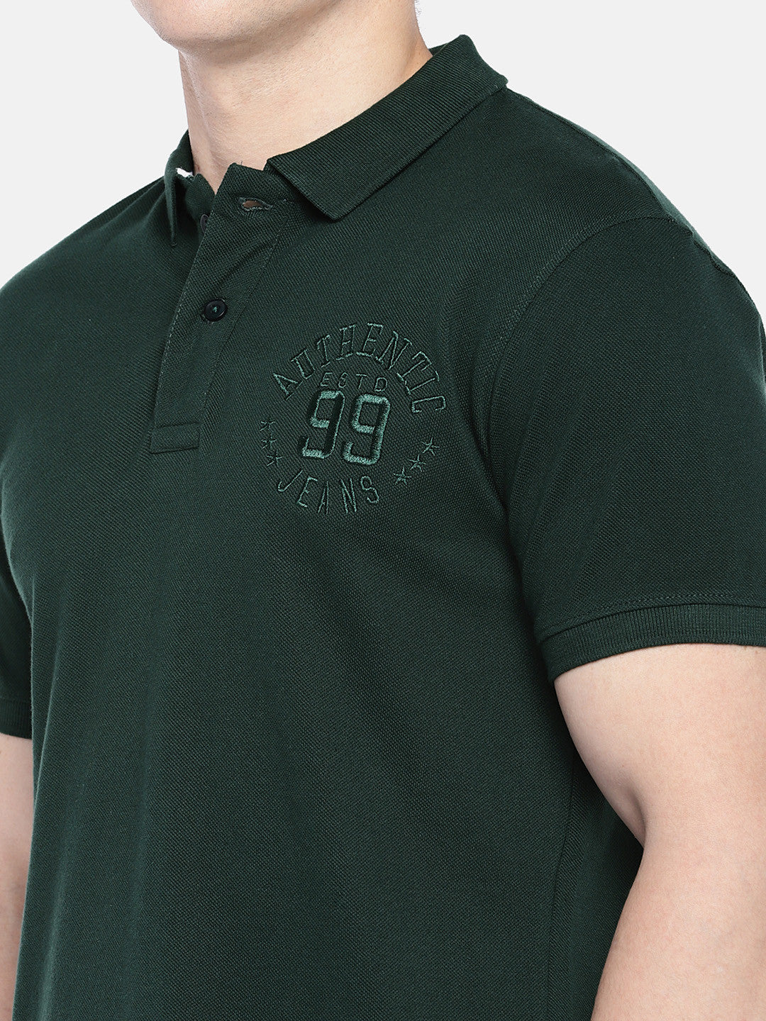 Green Solid Polo Collar T-shirt-5