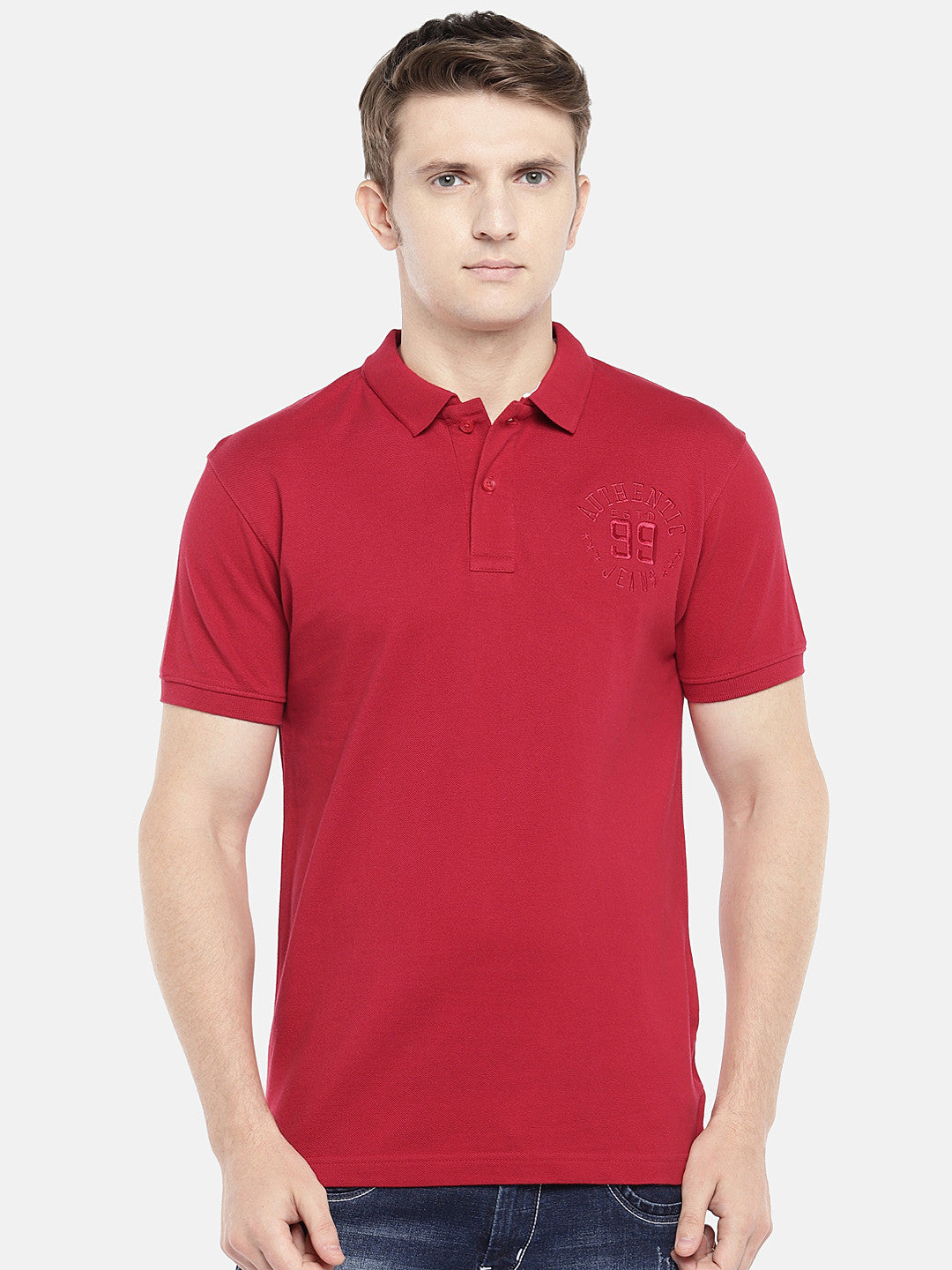 Red Solid Polo Collar T-shirt-1